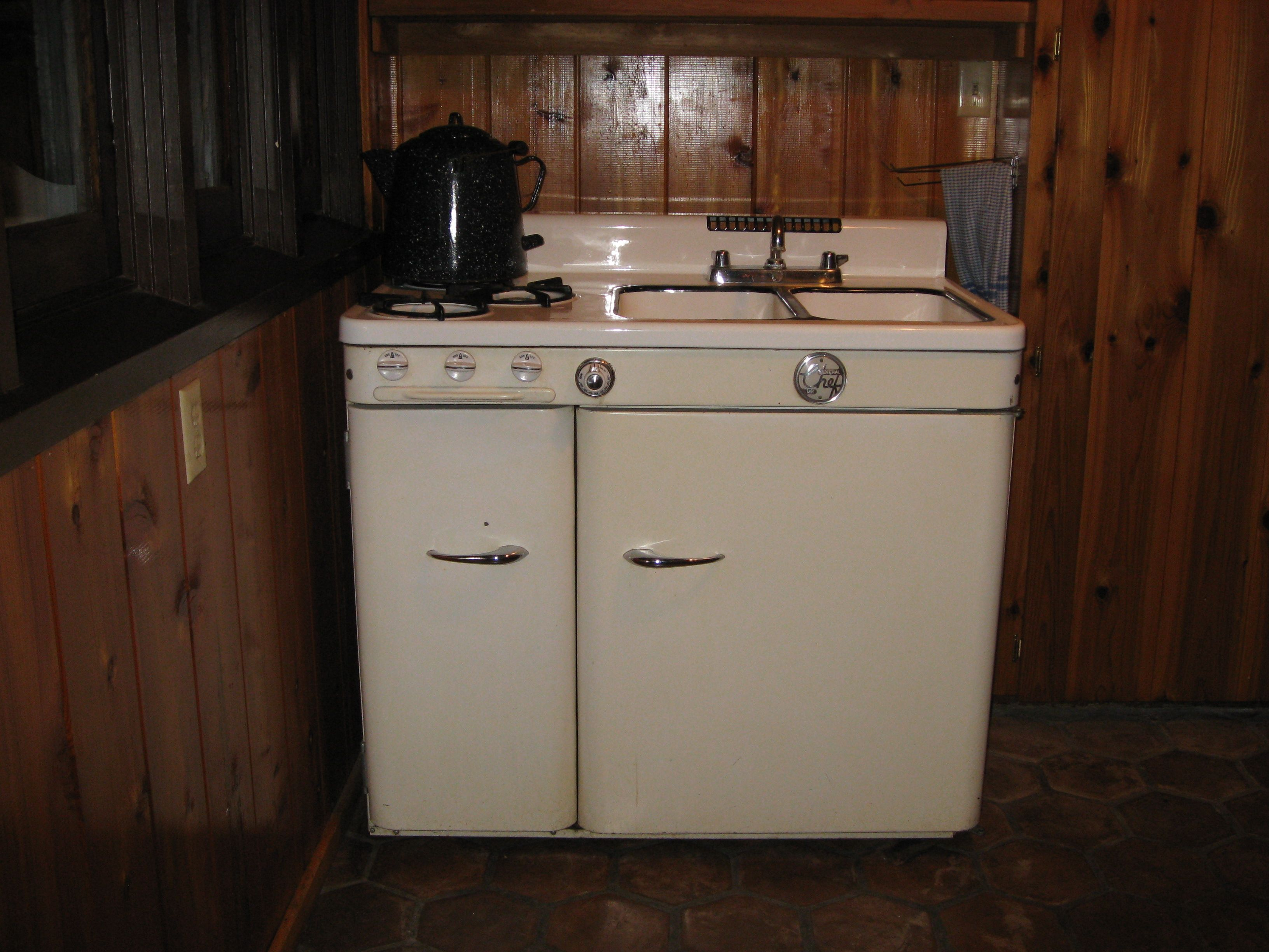 Antique Kitchen Appliances Home Dog Food Vintage Stove Sink Refrigerator Combo Stoves
