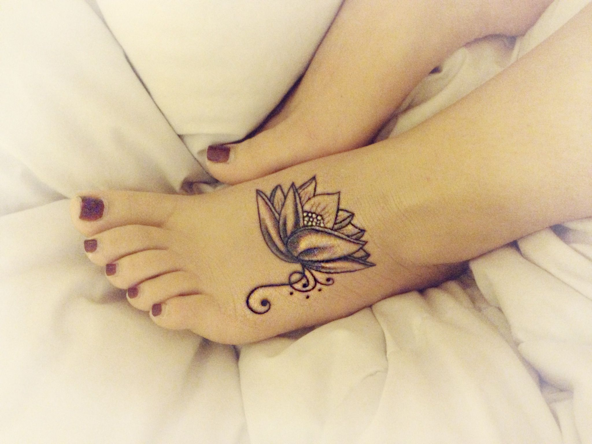 Lotus Flower Tattoo On Foot With Swirls Black Grey And White My