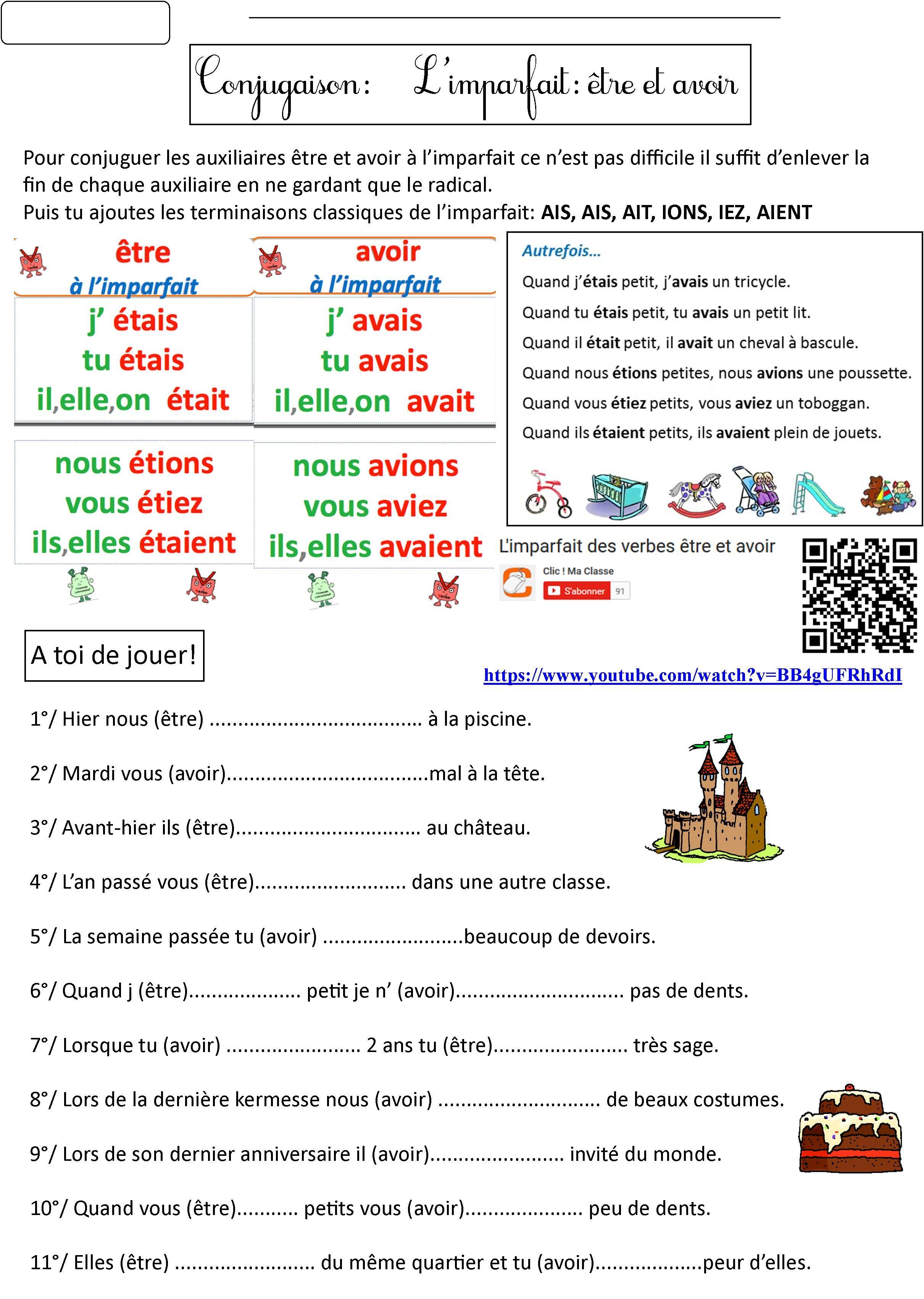 771fca71a être et avoir imparfait 1 | French Imperfect Tense | Avoir imparfait ...