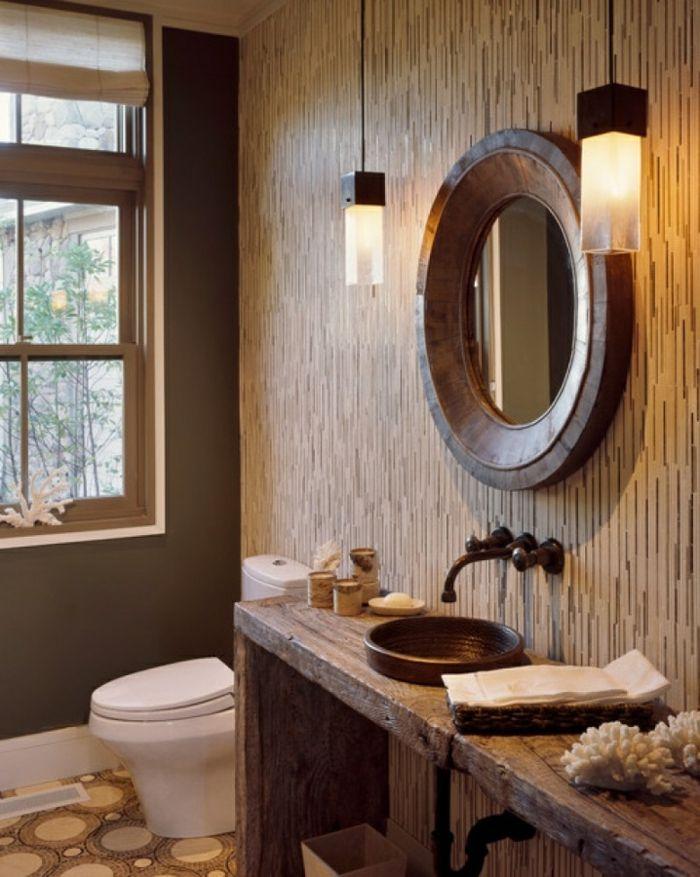Reformas de ba o hacer un ba o r stico l mparas for Espejos de bano rusticos de madera