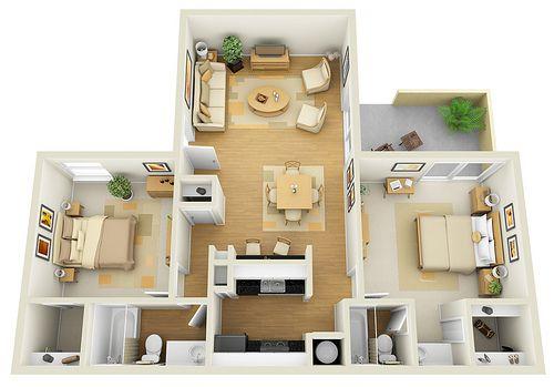 Renoir 2x2 3d Floor Plan For Websites Downloading Sims House Design Small House Plans House Design