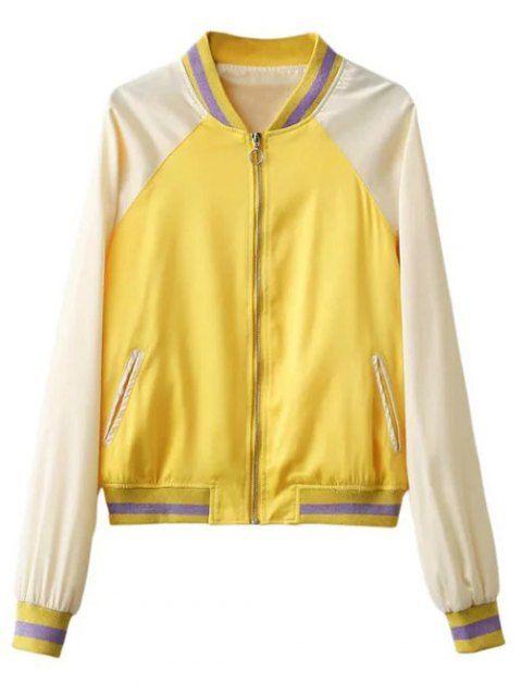 5f1303807 Color Block Zip Up Baseball Jacket - YELLOW S | Sunglasses | Jackets ...