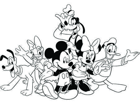 Mickey Friends Christmas Coloring Page Adult Coloring