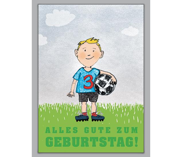 Geburtstagskarte Zum 3. Geburtstag Mit Kleinem Fußballer    Http://www.1agrusskarten