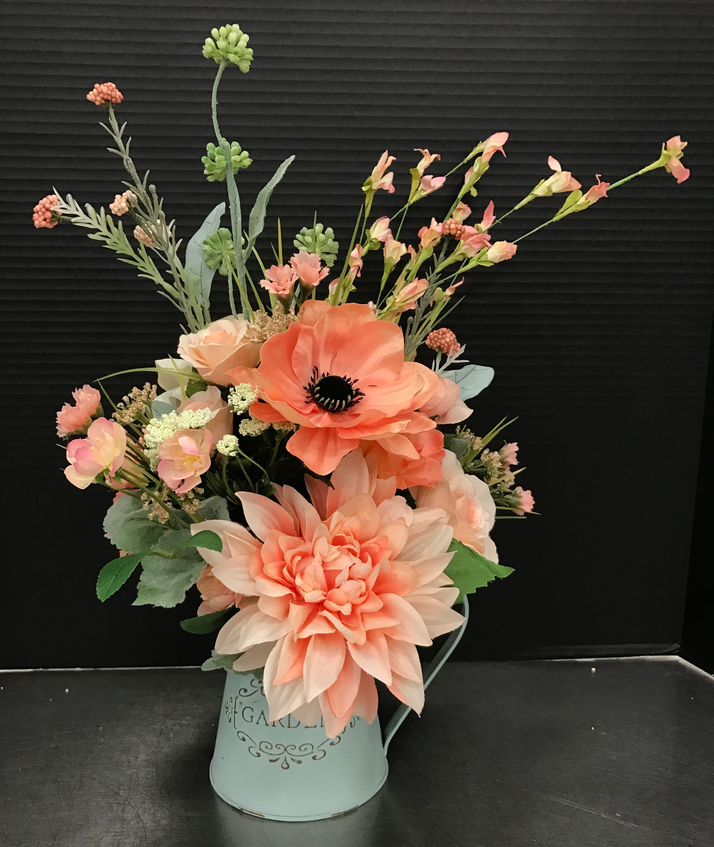 Summer Flower Arrangements: Peachy Pitcher 2017 By Andrea