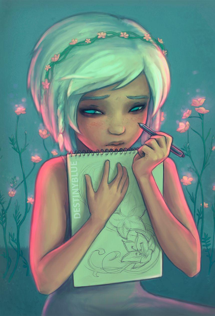 Digital Art Don't watch me draw... by DestinyBlue