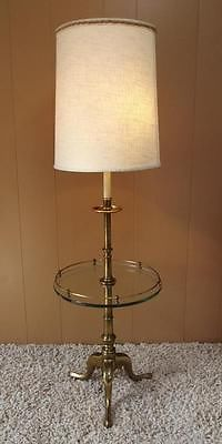 Vintage Mid Century Modern Stiffel Brass Floor Lamp W Glass Table