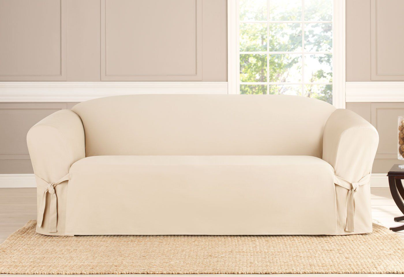 Heavyweight Cotton Duck One Piece Sofa Slipcover 100 Cotton Tailored Layered Skirt Machine Washable Furniture Slipcovers Slipcovers Loveseat Slipcovers