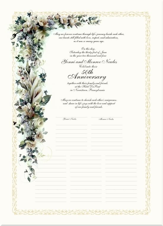 50th wedding anniversary poems calla lilies gardenias golden 50th anniversary certificate