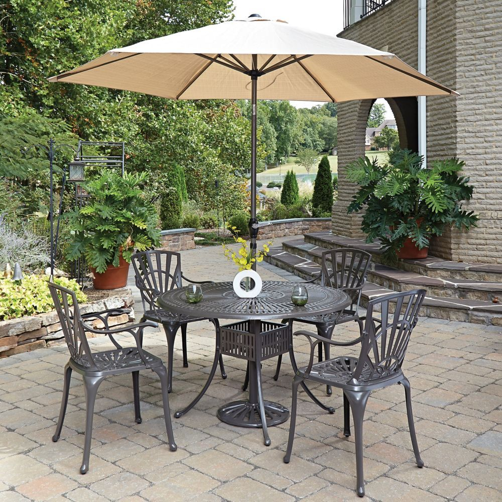 Largo 5 Piece 48 Inch Dining Set With Arm Chairs Umbrella In Taupe Outdoor Dining Set Patio Patio Dining Set