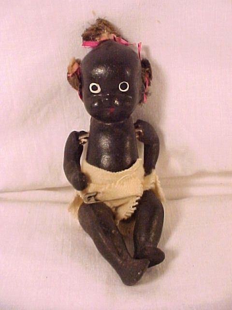 Antique Black Porcelain Baby Doll An