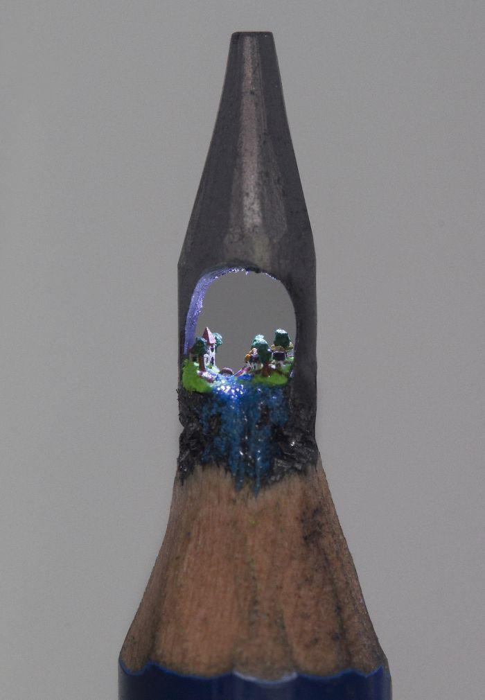 I Carve Little Sculptures Into The Tips Of Pencils Toms Pencil - Artist carves miniature pop culture sculptures into pencils