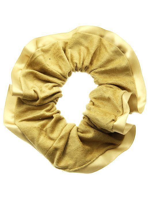 Hair Accessory Microfiber Finish Scrunchie Tie Satin Trim Stretch 2 1 2 Inch Diameter Made In Korea
