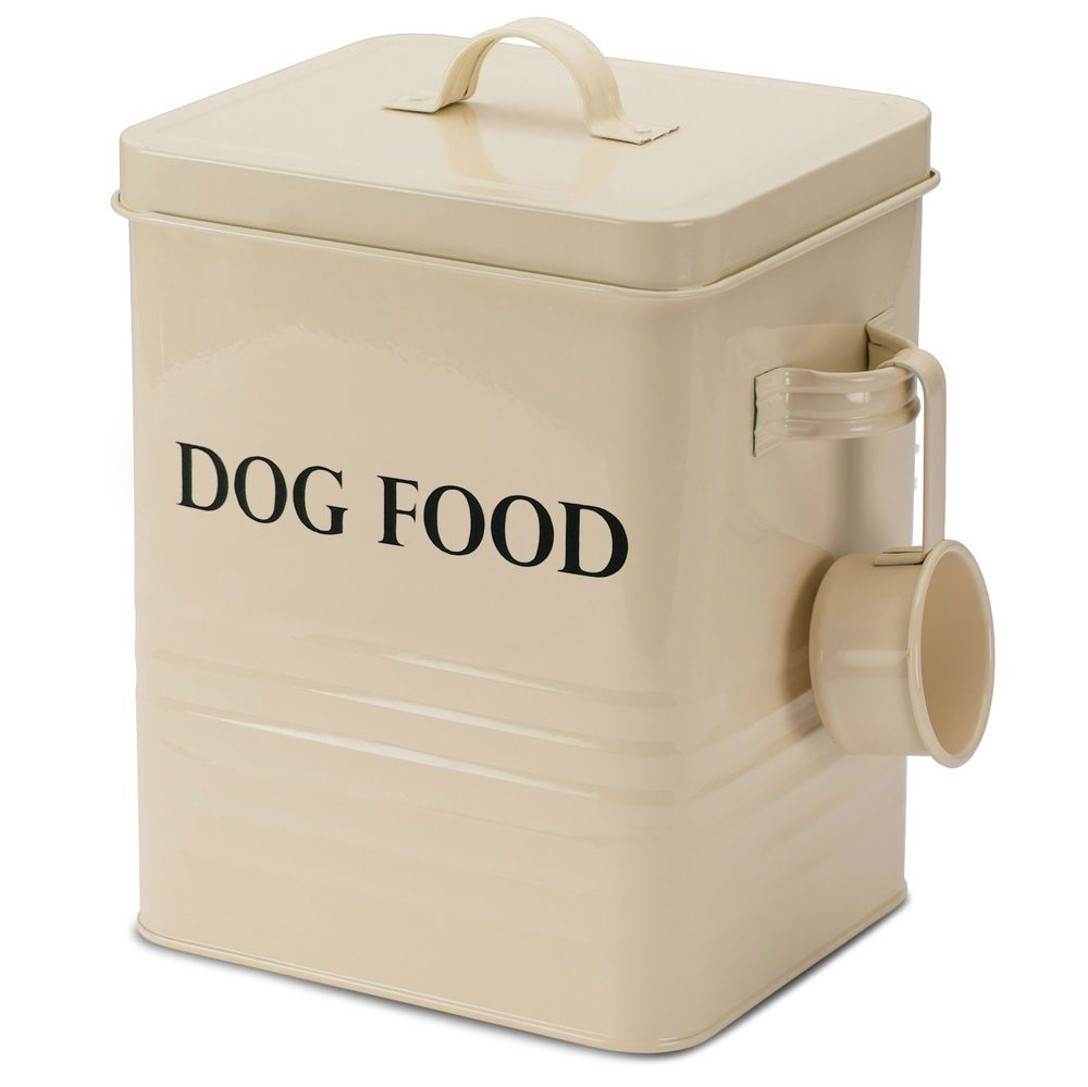 Andrew James Vintage Dog Food Treat Storage Tin Box Container