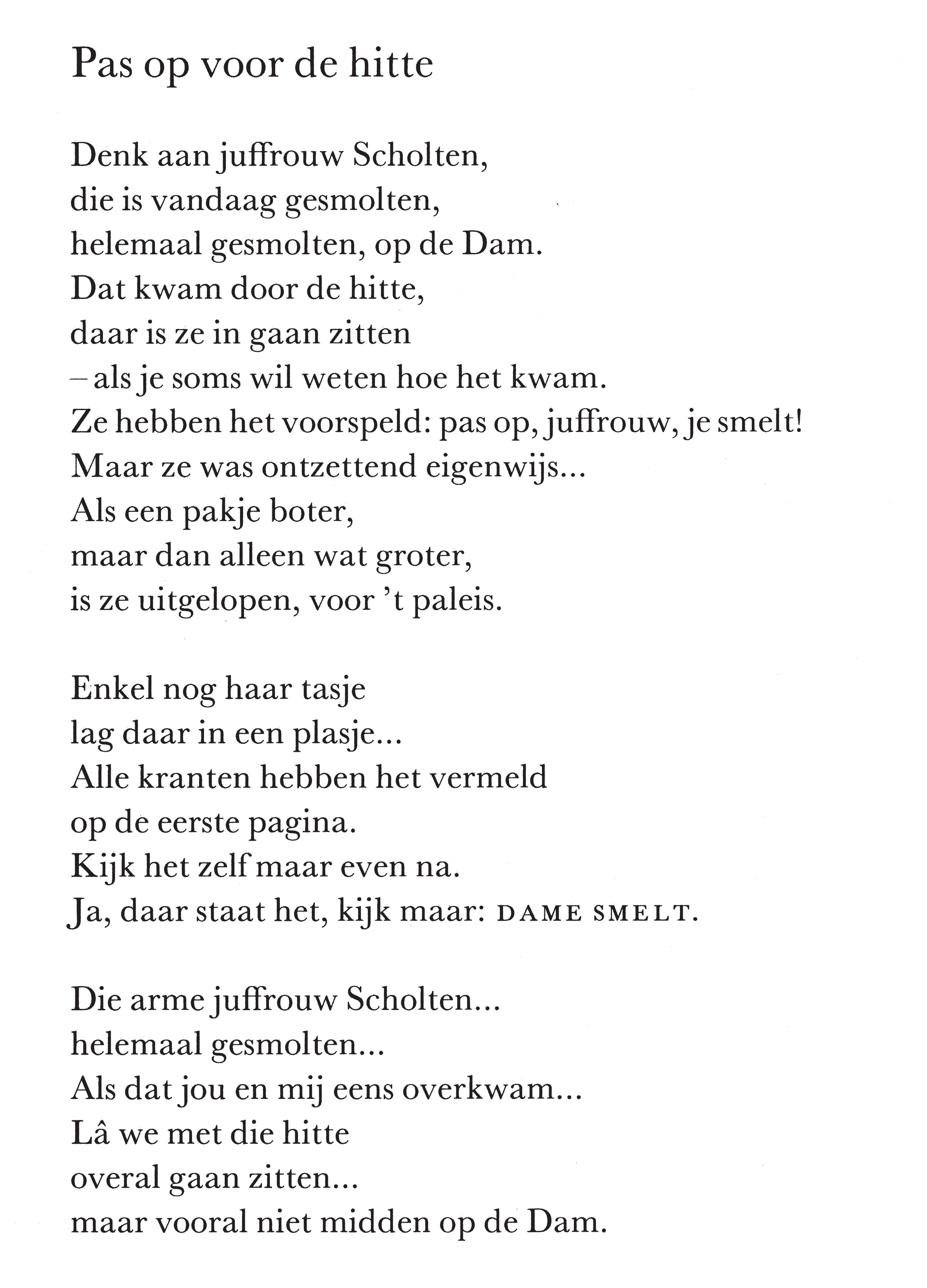 Uitzonderlijk Gedicht: Pas op voor de hitte - Annie M.G. Schmidt | Gedichten  #VX09