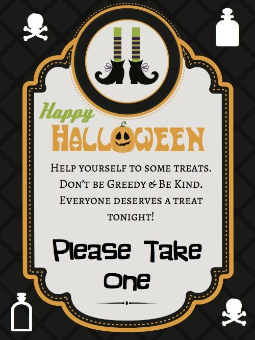 graphic regarding Trick or Treat Signs Printable called Halloween Sweet Symptoms - absolutely free printable Halloween