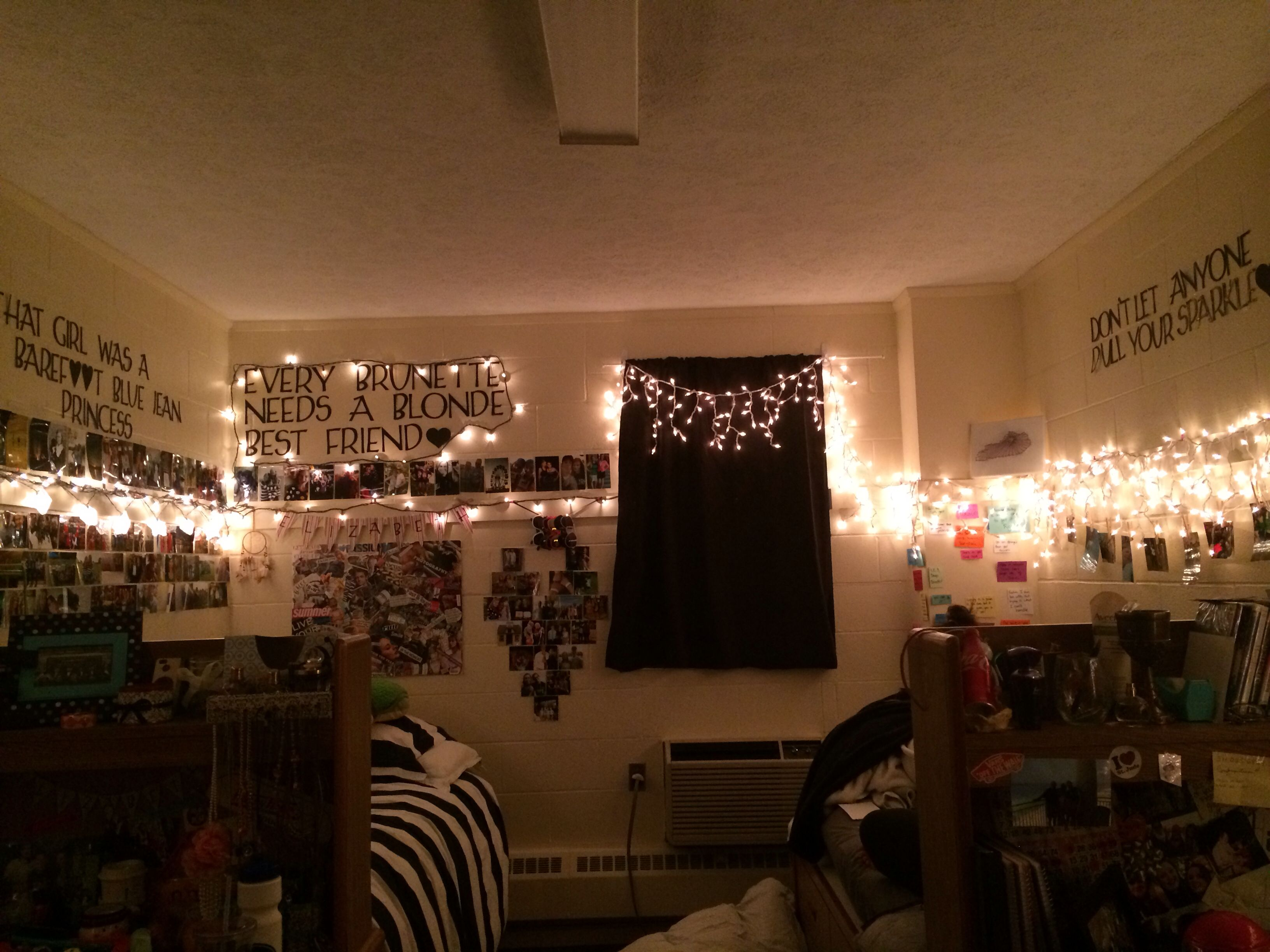 Dorm room christmas lights everywhere college life