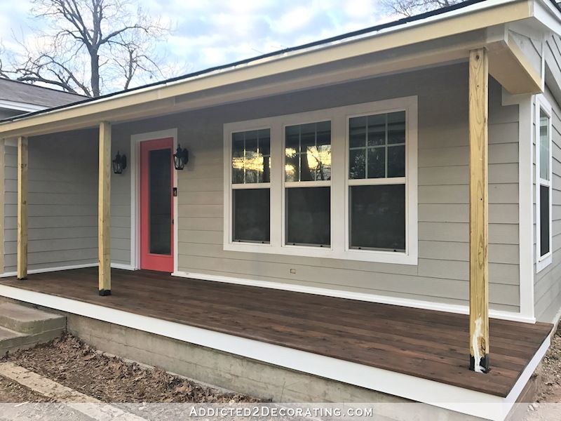 Finished Front Porch Floor Wood Front Porch Built Over Existing Concrete Porch Addicted 2 Decorating Concrete Porch Concrete Front Porch Porch Makeover