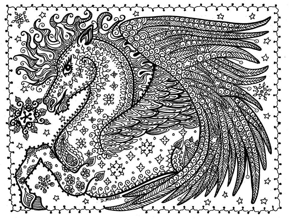 pegasus fantasy myth mythical mystical legend wings enchantment coloring pages colouring adult detailed advanced printable kleuren - Pegasus Coloring Page