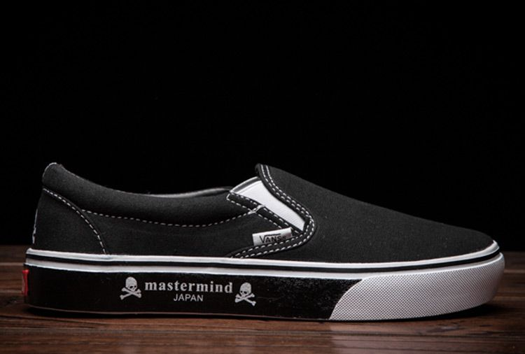 03dc2ff92d Mastermind JAPAN x Vans Slip On Black Canvas Skate Shoes  Vans ...