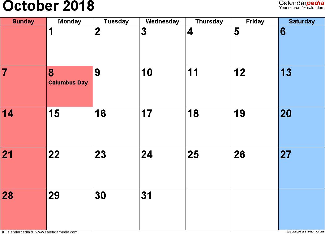 calendar of october 2018