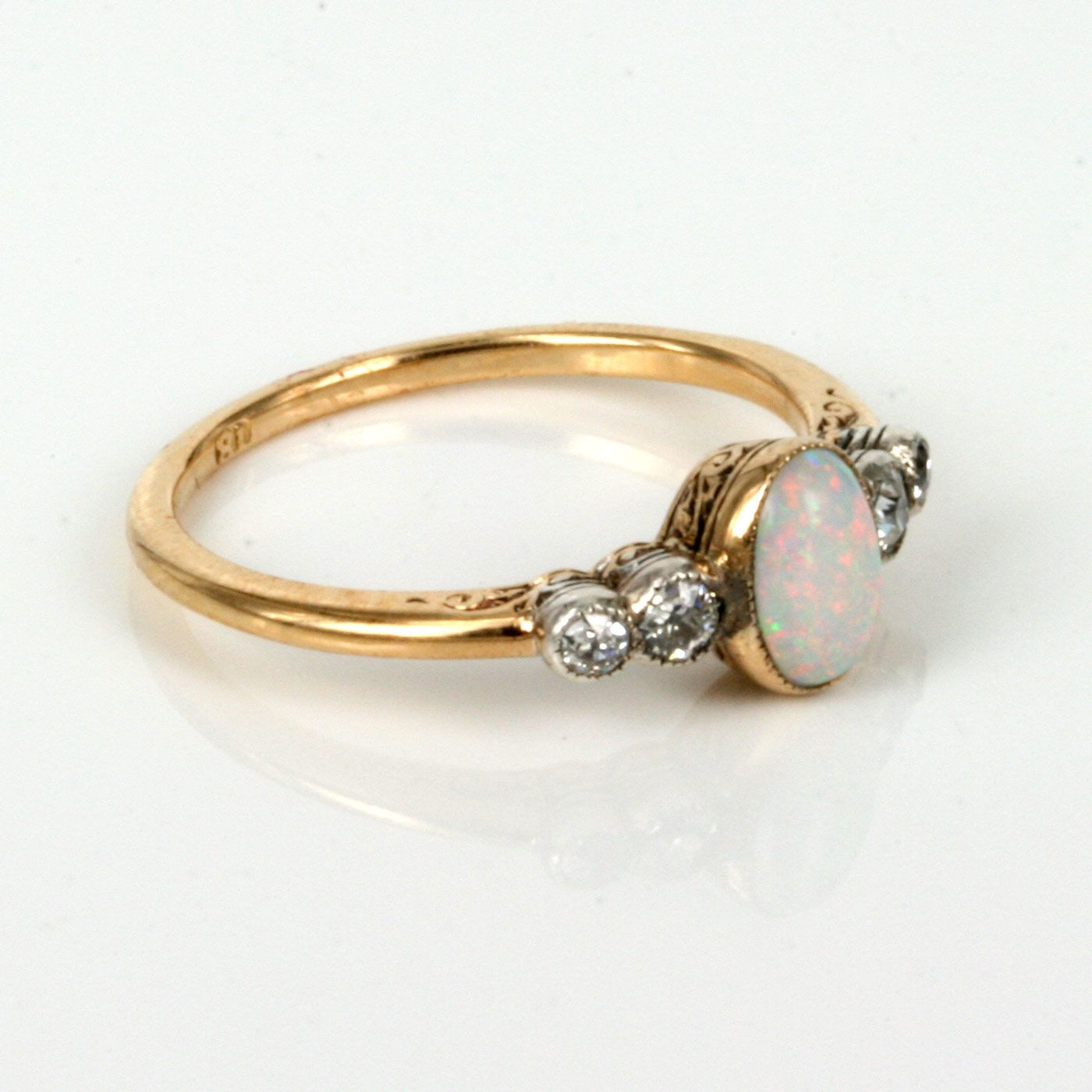 opal engagement rings | buy art deco opal & diamond ring made in