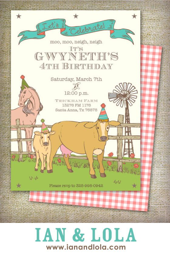 Vintage style farm barnyard or petting zoo DIY printable or printed invitations. Design description: a simple barnyard scene with birthday horse, cow and windmill.