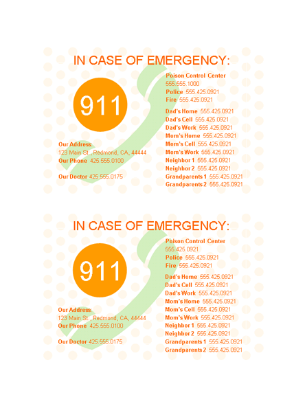 Emergency Contact List Card Template  Scouts