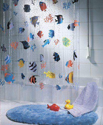Spirella Fish Peva Clear Plastic Shower Curtain 180 X 200 Cm Blue
