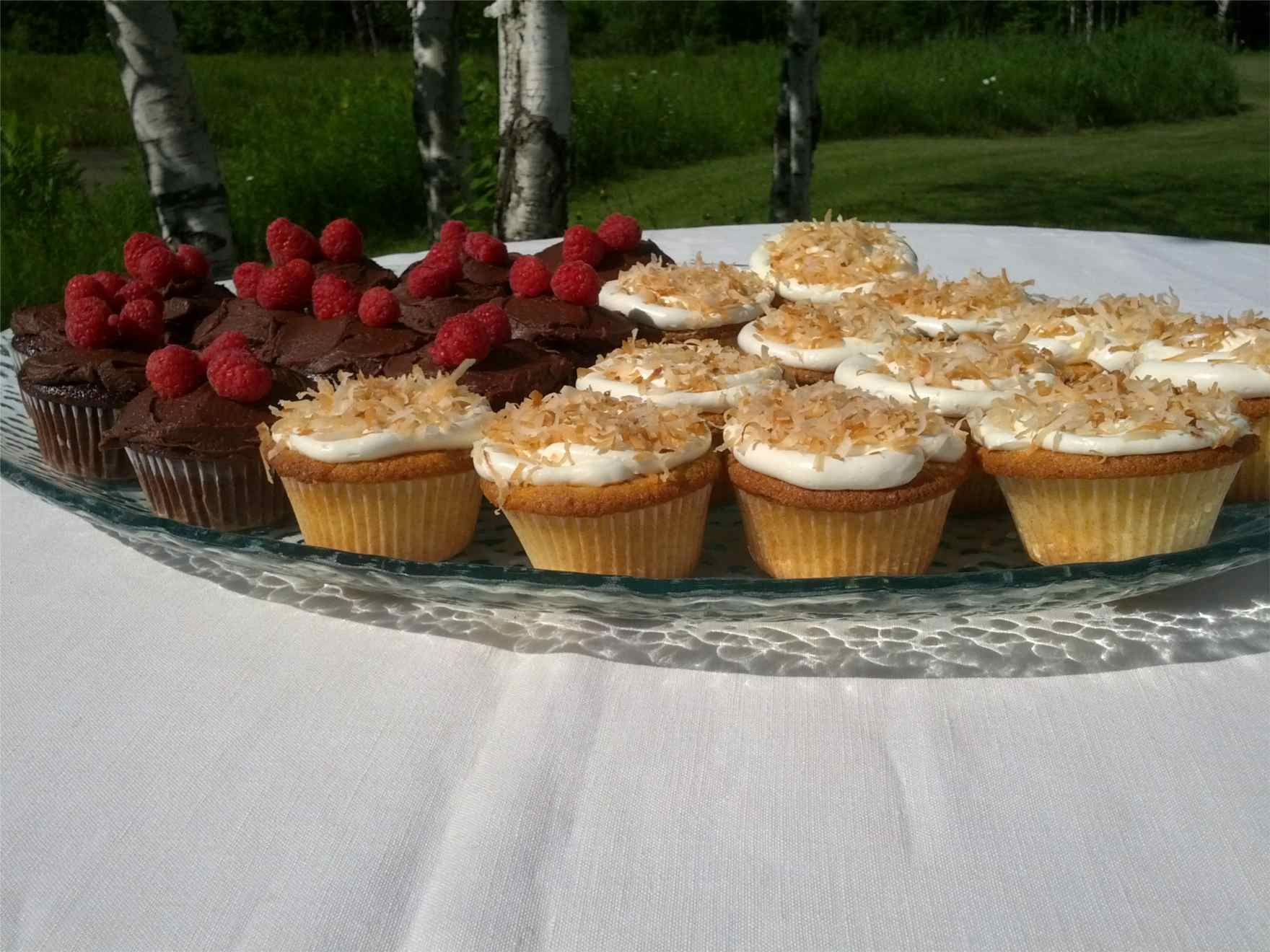 Coconut and chocolate raspberry cupcakes. - Trillium Fine Desserts