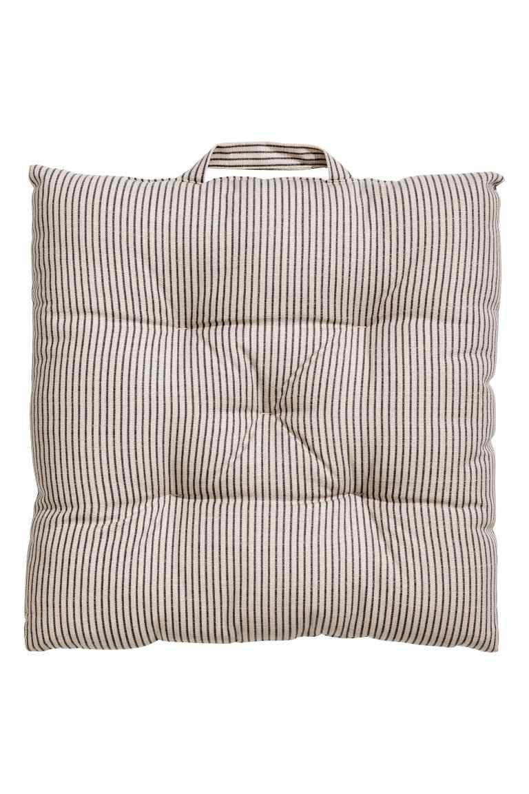 Striped seat pad - Mole/Grey striped - Home All | H&M GB 1