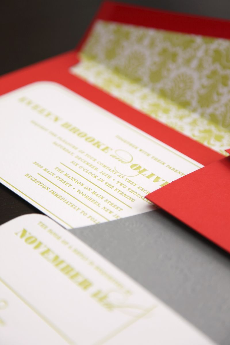 Contemporary damask letterpress wedding invites - lime green, gray ...
