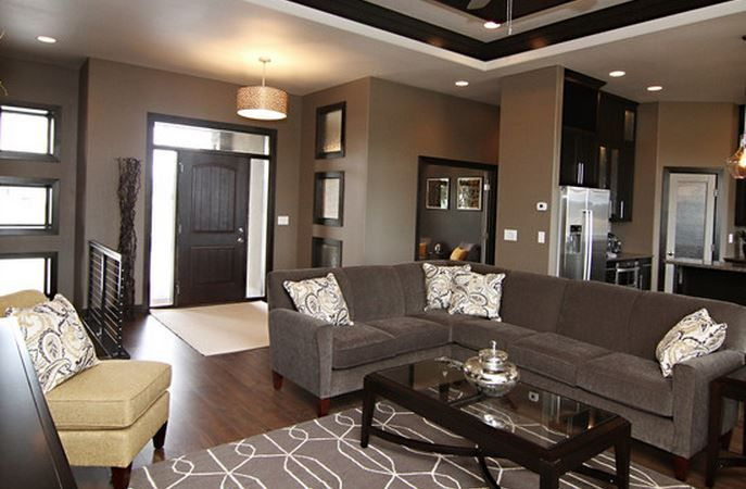 deco salon moderne gris Malade les trois miroirs dans lentre  Salon  Living room designs