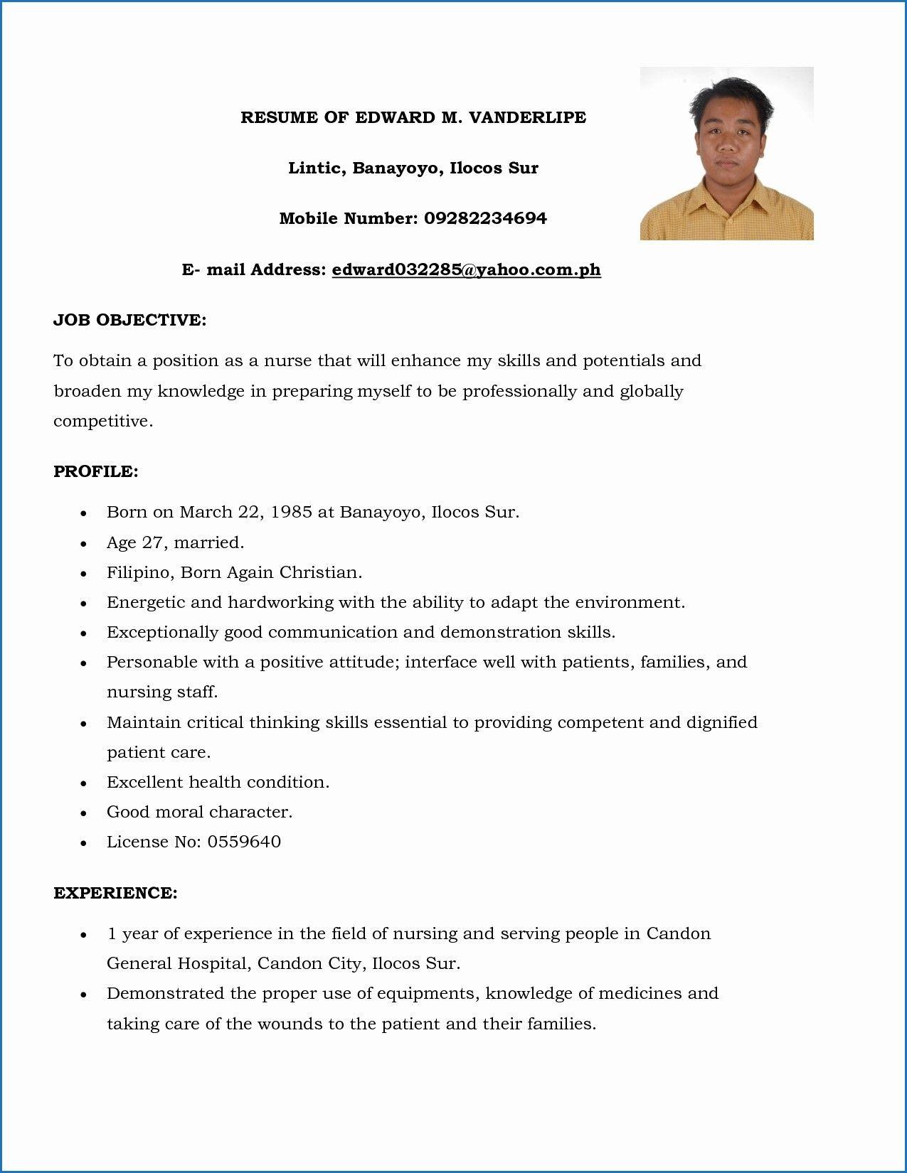 15 Resume format for Nursing Staff