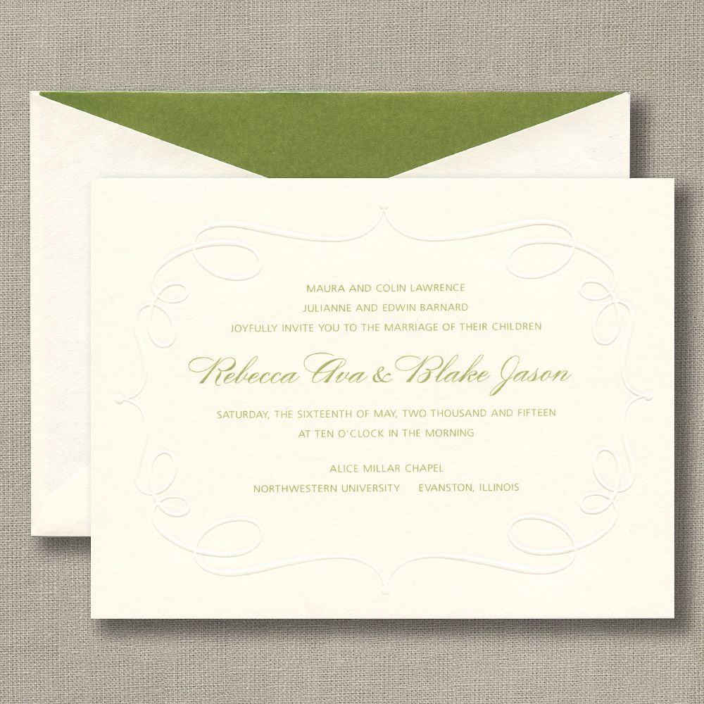 Embossed Cartouche Warm White Wedding Invitations: Playful, yet ...