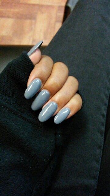 Grey Rounded Nails Shiny Long Acrylic Round Round Nails Rounded Acrylic Nails Nail Shapes