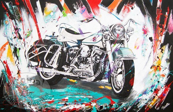 Vrolijk Schilderij In 3d Met Een Harley Davidson Van Renate Rolefes Schilderij Schilderij Tekening Harley Davidson