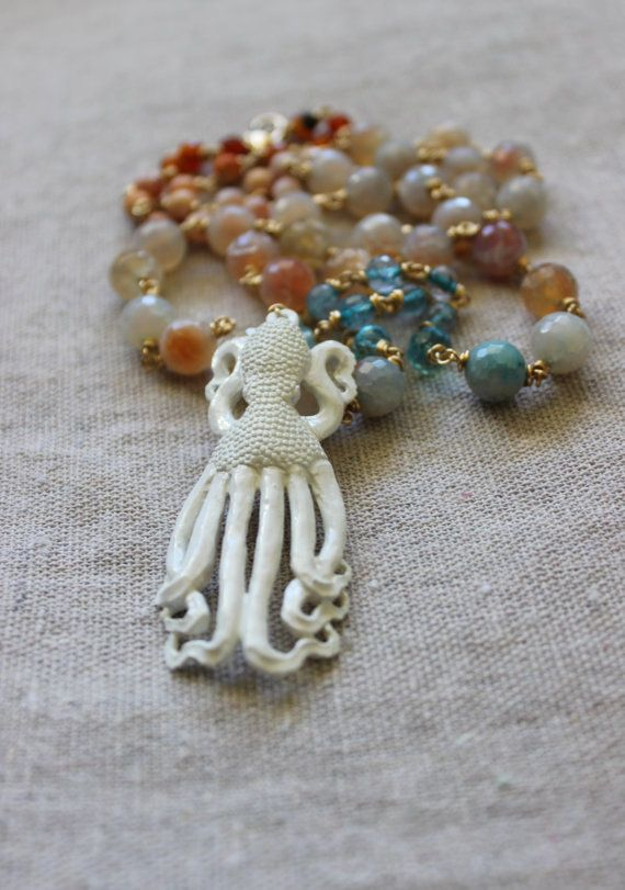 Octopus stone necklace hand-carved bone pendant blue amber agate strand, brass wire, OOAK coupon code free shipping