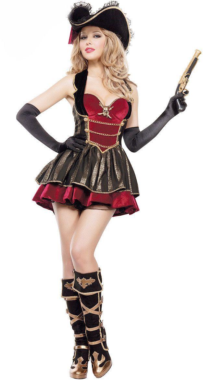 7ce5d88f820 Pirates Caribbean Female Backless Uniform   Halloween Costumes ...