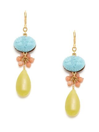 Blue Cabochon, Coral, & Yellow Jade Drop Earrings by David Aubrey at Gilt