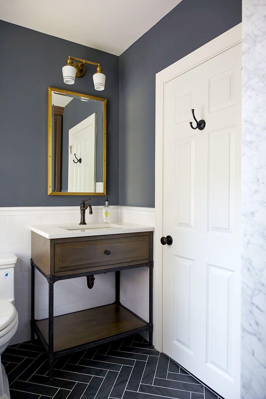 Classic Boys Bath With Herringbone Tile Floor And White Subway Tile Wall Charcoal Blue Walls And Dark Blue Bathrooms Herringbone Tile Floors Painting Bathroom