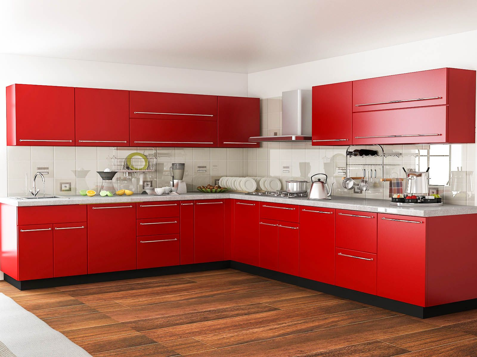 Red Kitchens Customfurnish L Shaped Red Kitchen  L Shaped Modular Kitchens
