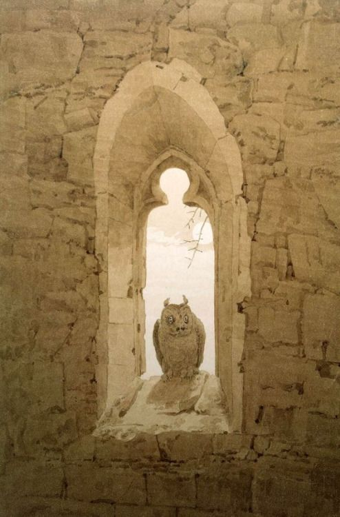 Owl In A Gothic Window by Caspar David Friedrich.......