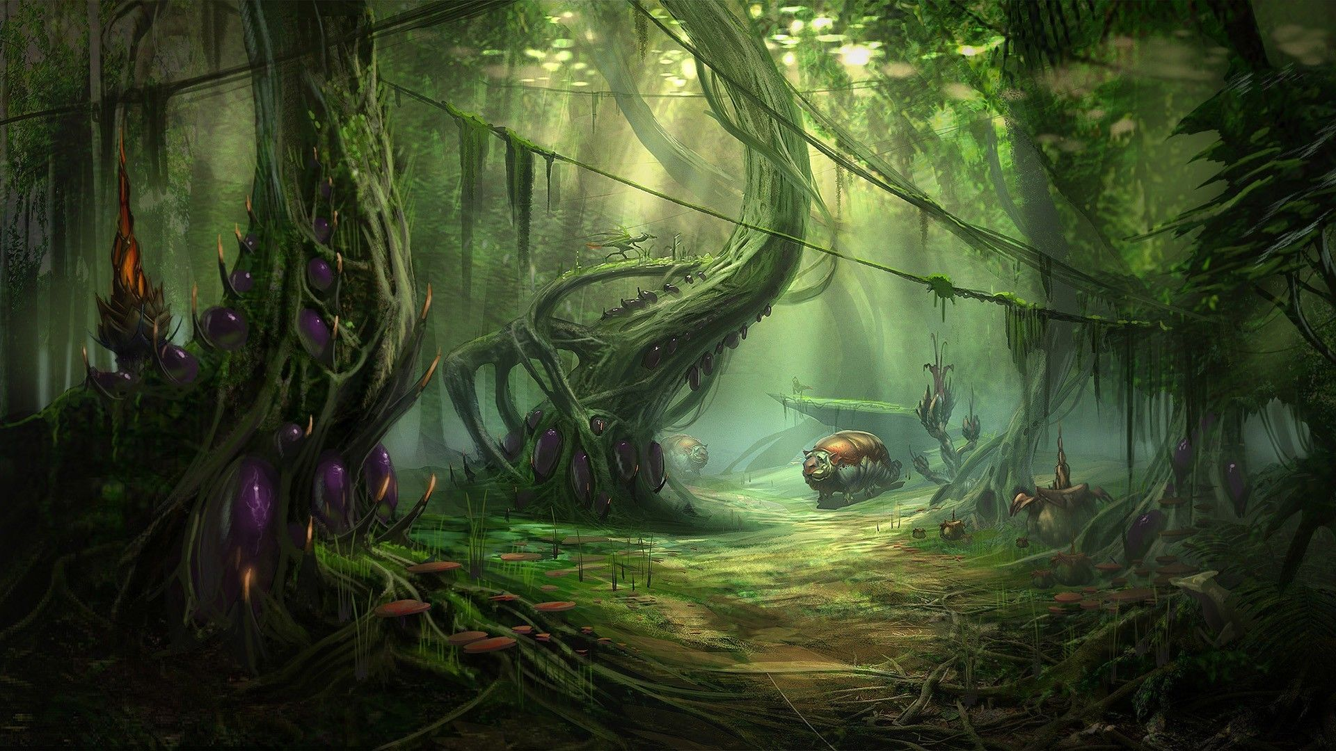 Fantasy Art Landscapes Forest Background 1 HD Wallpapers ...