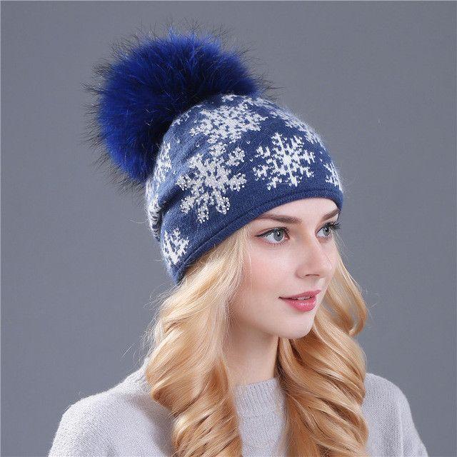 XTHREE real mink pom poms wool rabbit fur knitted hat Skullies winter hat  for women girls 4d56a27c3dd6