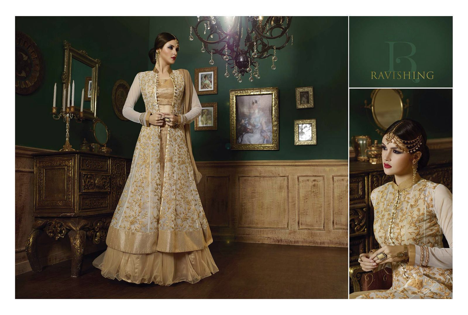 Womenus pretty a line lehenga style in tan brown with lace work