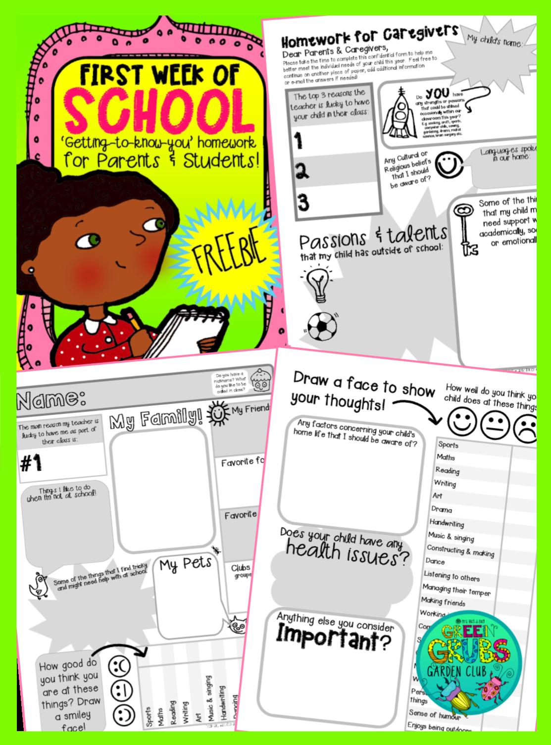 FREE PRINTABLE~ These fantastic 'first week of school homework ...