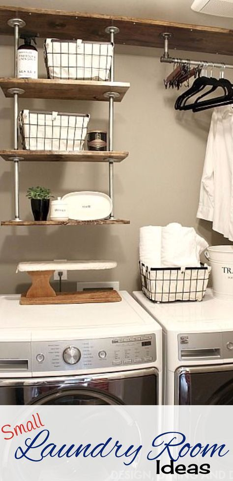 Tiny Laundry Room Space Saving Idea U2013 Hanging Pipe Shelves To Get Lots More  Space In This Small Laundry Room.