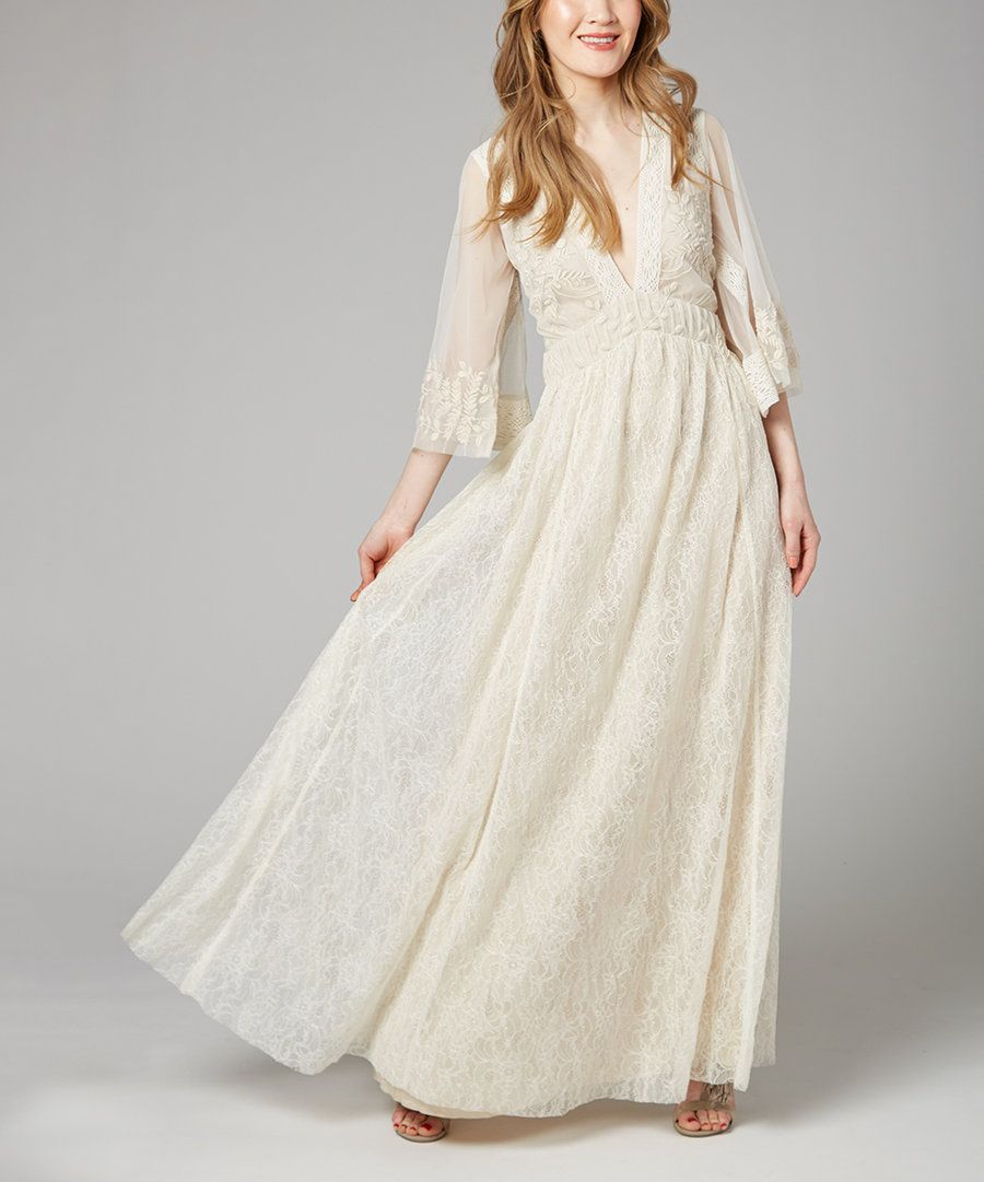 Look at this Ivory Éclair Embroidered Maxi Dress on #zulily today