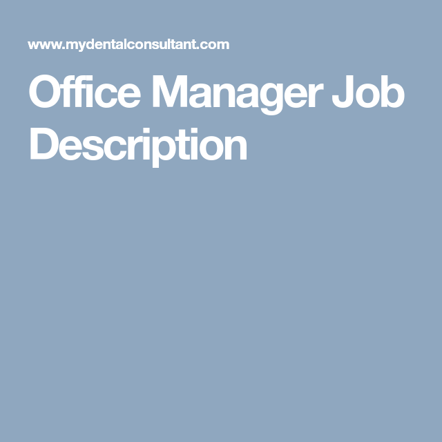 Office Manager Job Description  Leadership Strengths